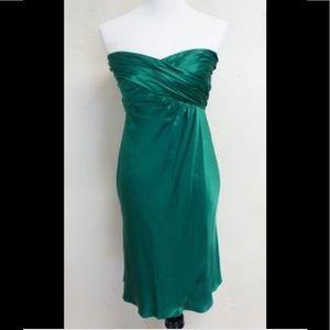 Banana Republic emerald green strapless silk dress